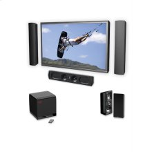 A 6 speaker 5.1 channel high performance on-wall home theater speaker system