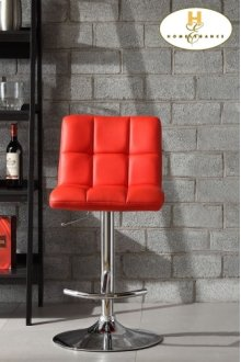 Red Bonded Leather Airlift Swivel Stool