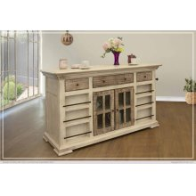 3 Drawer, 2 Door, Kitchen Island w/ Bottle Rack & Shelves