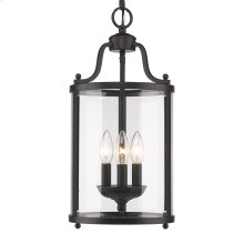 Payton 3 Light Pendant in Black with Clear Glass
