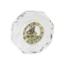 Glass Table Clock W/ Gold Face