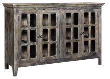 Bengal Manor Acacia Wood 4 Door Window Pane Cabinet