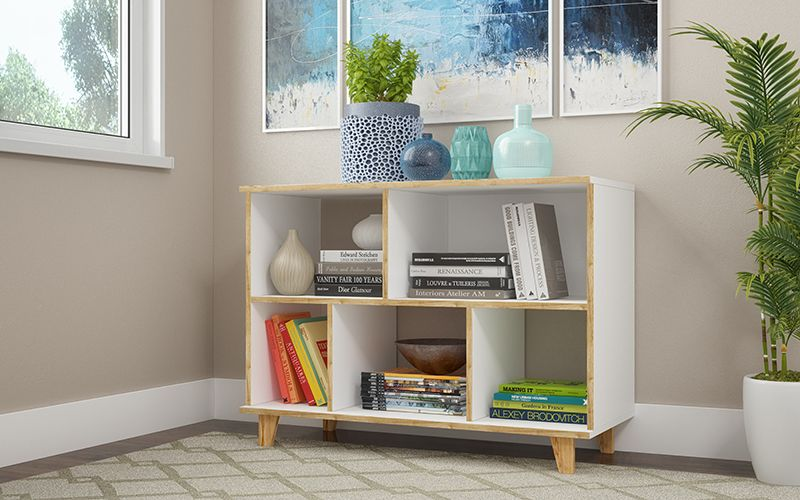 Minetta 5-Shelf Mid Century Low Bookcase in White