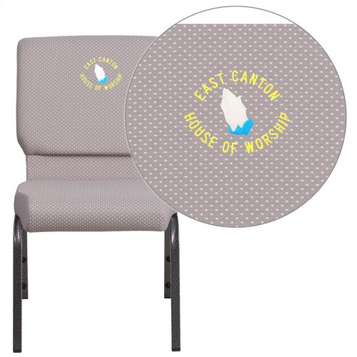 Embroidered HERCULES Series 18.5''W Gray Dot Fabric Stacking Church Chair with 4.25'' Thick Seat - Silver Vein Frame
