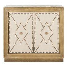 Erin 2 Door Chest - Rustic Oak Linen / Copper / Mirror