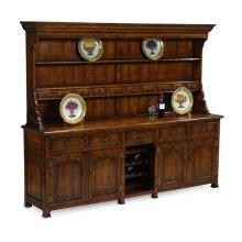 Large Walnut Welsh Dresser with Wine Rack