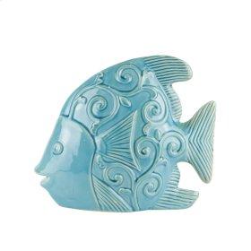 """Ceramic Fish DECOR,12.25"""",TEAL"""