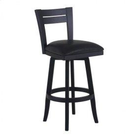 "Armen Living Bristol 30"" Bar Height Swivel Wood Barstool in Black Finish and Black Pu"