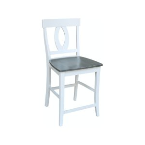 JOHN THOMAS FURNITURE Verona Stool In Heather Gray & White