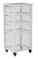 Clayton 4 Drawer Rolling Cart In White Metal Finish Frame, Fully Assembled. Product Image