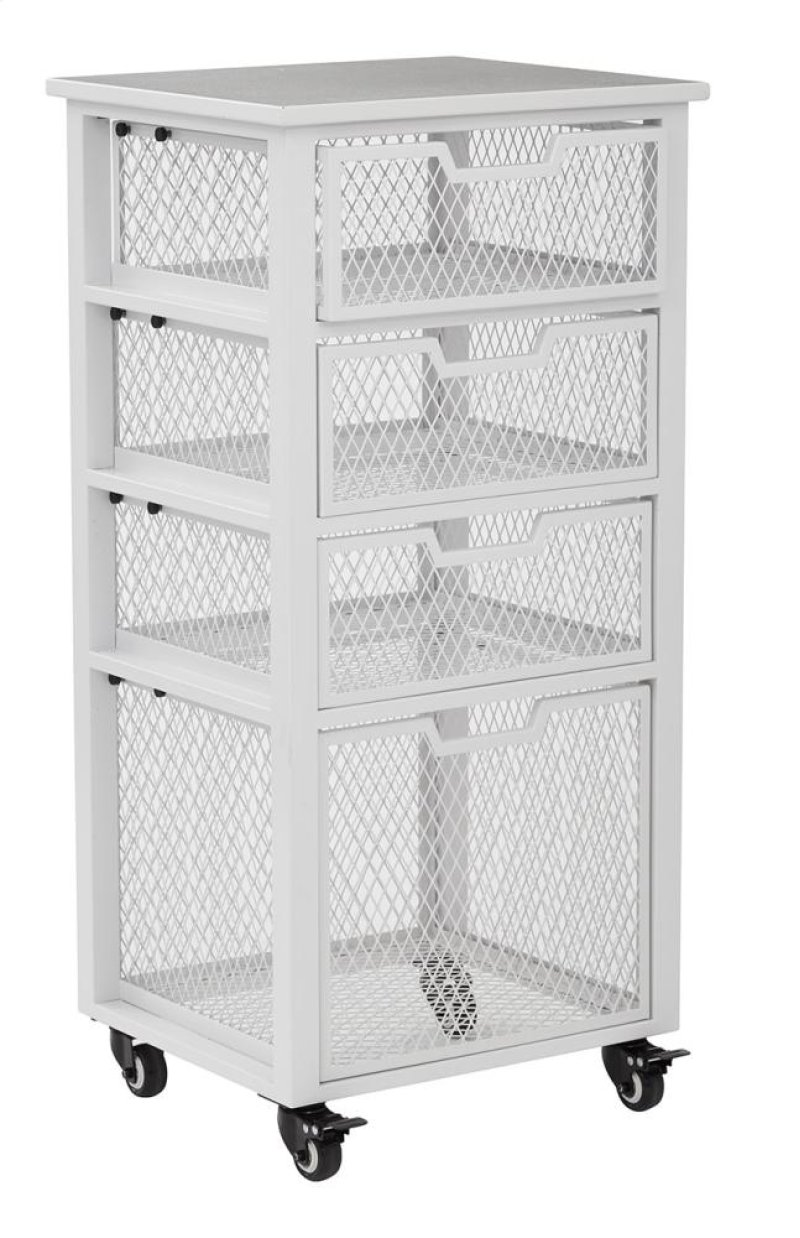 Cly04as11 in by office star in clayton 4 drawer rolling cart in white metal finish frame fully assembled