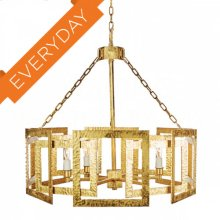 Hammered Metal Octagonal Chandelier, Gold