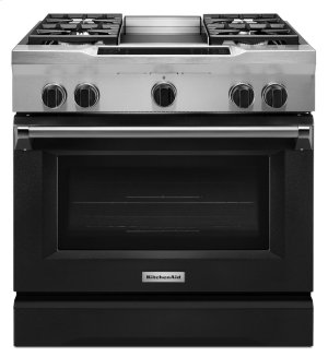 36'' 4-Burner with Griddle, Dual Fuel Freestanding Range, Commercial-Style - Imperial Black Product Image