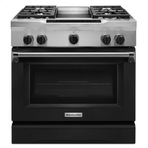 Kitchenaid36'' 4-Burner with Griddle, Dual Fuel Freestanding Range, Commercial-Style - Imperial Black