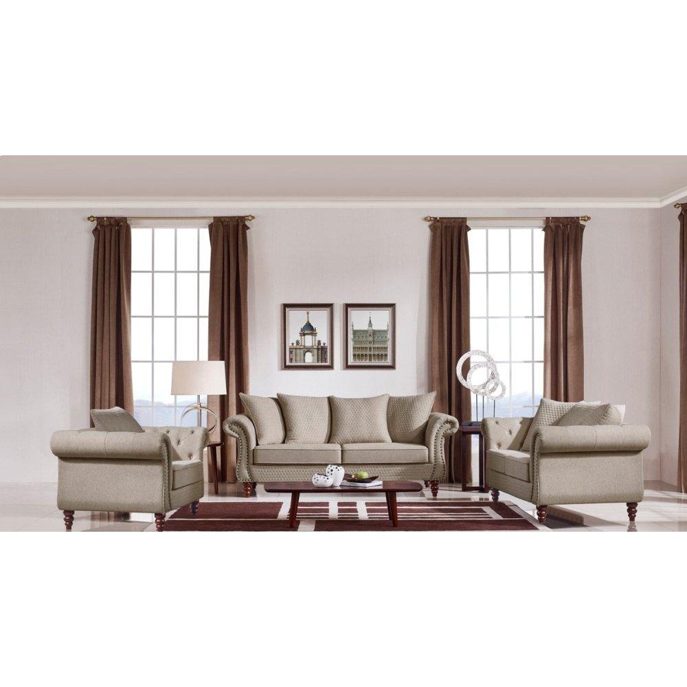Divani Casa Nadine Transitional Beige Fabric Sofa Set