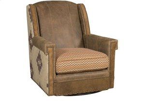 Mustang Leather/Fabric Swivel Chair, Mustang Leather/Fabric Ottoman
