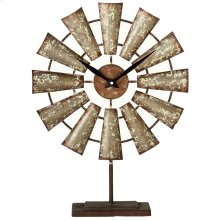 Distressed Galvanized Windmill Desk Clock.