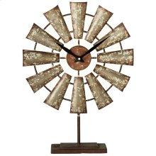 Distressed Galvanized Windmill Desk Clock.