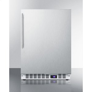 SummitFrost-free Built-in Undercounter All-freezer for Residential or Commercial Use, With Stainless Steel Door, Thin Handle, and White Cabinet