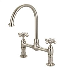Harding Kitchen Bridge Faucet with Metal Cross Handles - Brushed Nickel
