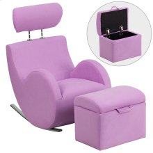 Lavender Fabric Rocking Chair with Storage Ottoman