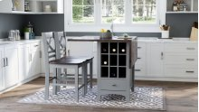 Asbury Park Counter Drop Leaf Table W/2 X Back Stools - Grey/autumn