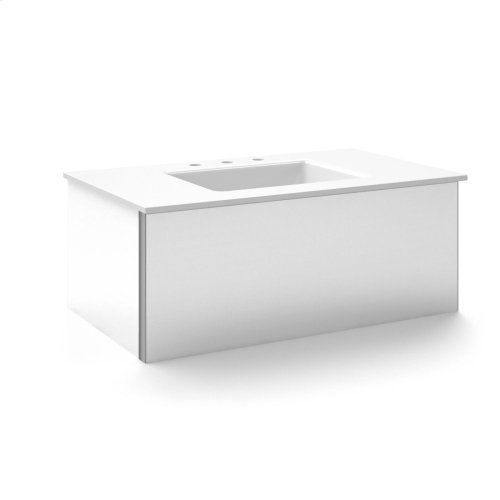 "V14 36-1/4"" X 14"" X 21"" Wall-mount Vanity In Satin White With Push-to-open Plumbing Drawer and 37"" Stone Vanity Top In Quartz White With Center Mount Sink and Single Faucet Hole"