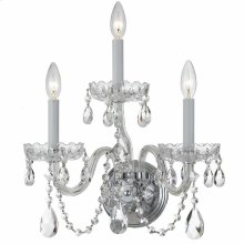 Traditional Crystal 3 Light Swarovski Crystal Chrome Sconce