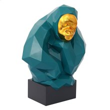 Pondering Ape Sculpture - Green and Gold
