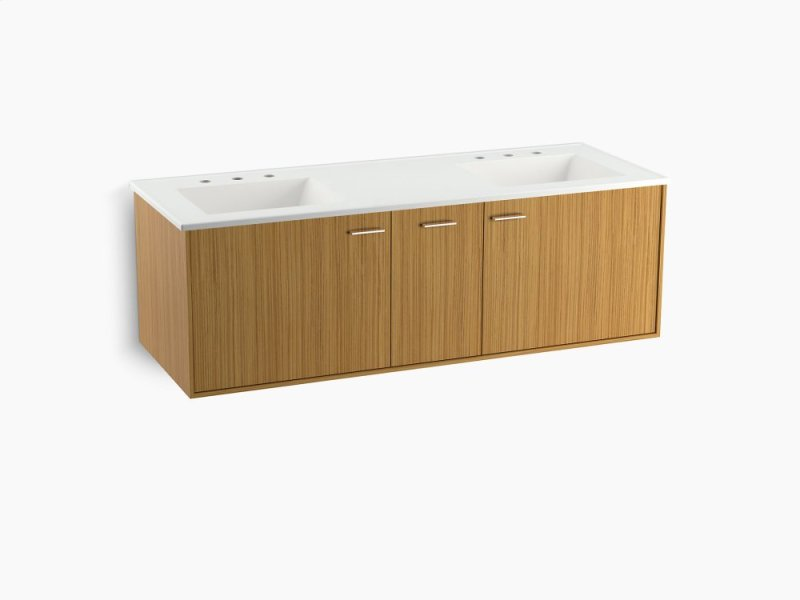 Corduroy Teak 60 Wall Hung Bathroom Vanity Cabinet With 2 Doors And 1 Split