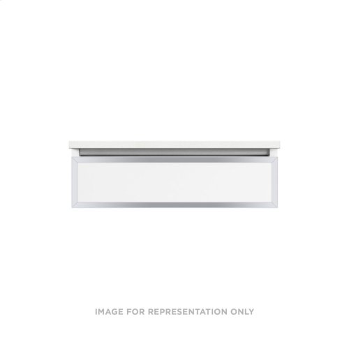 """Profiles 30-1/8"""" X 7-1/2"""" X 21-3/4"""" Framed Slim Drawer Vanity In Matte White With Chrome Finish and Slow-close Plumbing Drawer"""