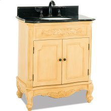 """30-1/2"""" vanity with antique crackled Buttercream finish, carved floral onlays, French scrolled legs, and preassembled top and bowl."""