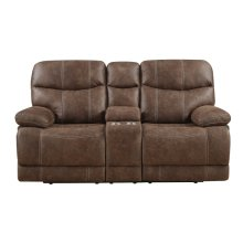 Emerald Home Earl Power Loveseat W/console Sanded Micro Brown U7128-21-25