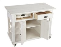 Kitchen Island w/ Doors - Distressed White Finish Product Image