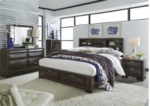 King Storage Bed, Dresser & Mirror, Chest, NS
