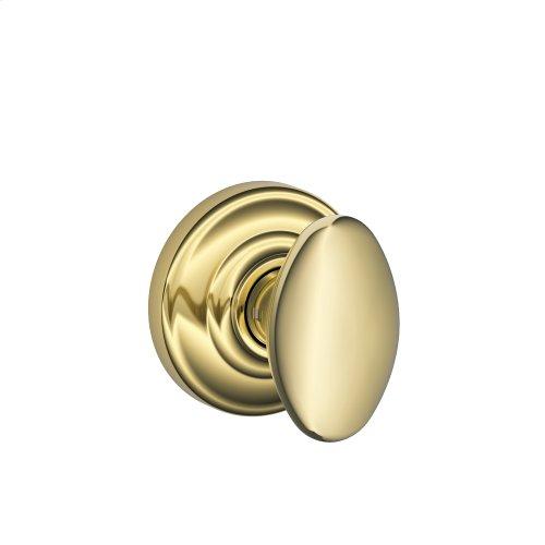 Siena Knob with Andover trim Non-turning Lock - Bright Brass