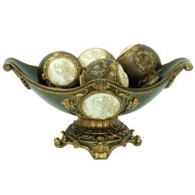 DECORATIVE BOWL W/4 MATCHING DECORATIVE BALLS