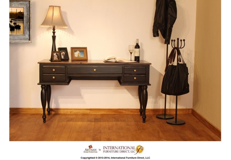 Two-tone Antique Desk w/Black Rubbed Finish - IFD433DESKB In By Artisan Home Furniture In Chesterfield, MI - Two