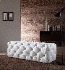 Divani Casa Maria Modern White Eco-Leather Bench w/ Crystals