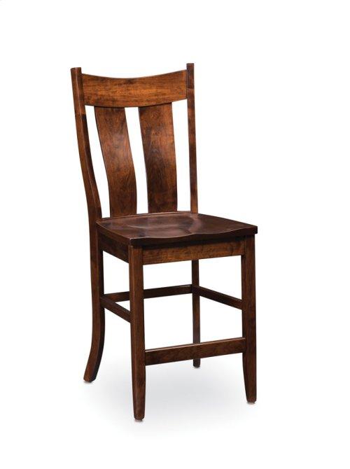 Corbin Stationary Barstool, Leather Cushion Seat