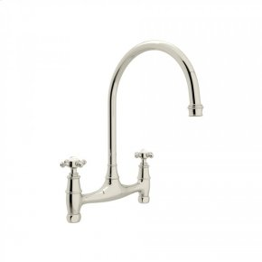 Polished Nickel Perrin & Rowe Georgian Era Bridge Kitchen Faucet with Cross Handle