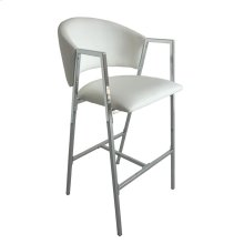 Contemporary White and Chrome Bar-height Stool
