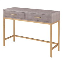 Durham Faux Shagreen Console Table 2 Drawers, Chronicle Gray
