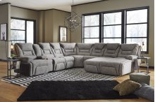 Left Arm Triple Power Reclining Console Loveseat w/Wands/Lights/Lighted Cupholders/Storage