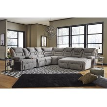 Right Arm Triple Power Reclining Console Loveseat w/Wands/Lights/Lighted Cupholders/Storage