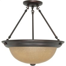 3-Light Large Dome Semi Flush Ceiling Light Fixture in Mahogany Bronze Finish with Champagne Linen Glass