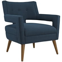 Sheer Upholstered Fabric Armchair in Azure