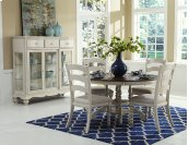 Pine Island 5pc Dining With Ladderback Chairs - Old White
