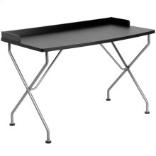 Black Computer Desk with Raised Border and Silver Metal Frame