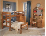 Heartland L-Shaped Bunk Bed with options: Honey Pine, Twin over Twin, With Chest Product Image